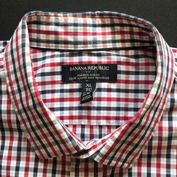 Red/Black Plaid XL Slim Fit Banana Republic Shirt